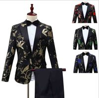 Men`s 2 Piece Deluxe Tuxedo Suit Grooms Wedding Dress Lapel One Button Suit For Men Conductor Costume For Men Plus Size XXL