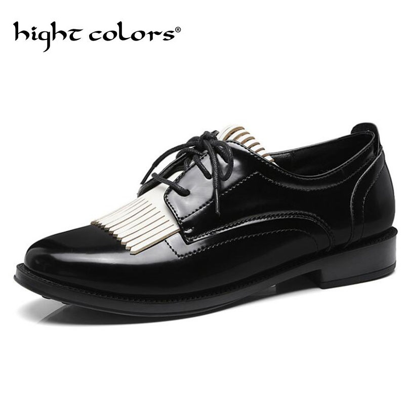 2019 New Women s Shoes Fashion Vintage Tassel Low Heeled Leather Oxfords For Women Lace Up
