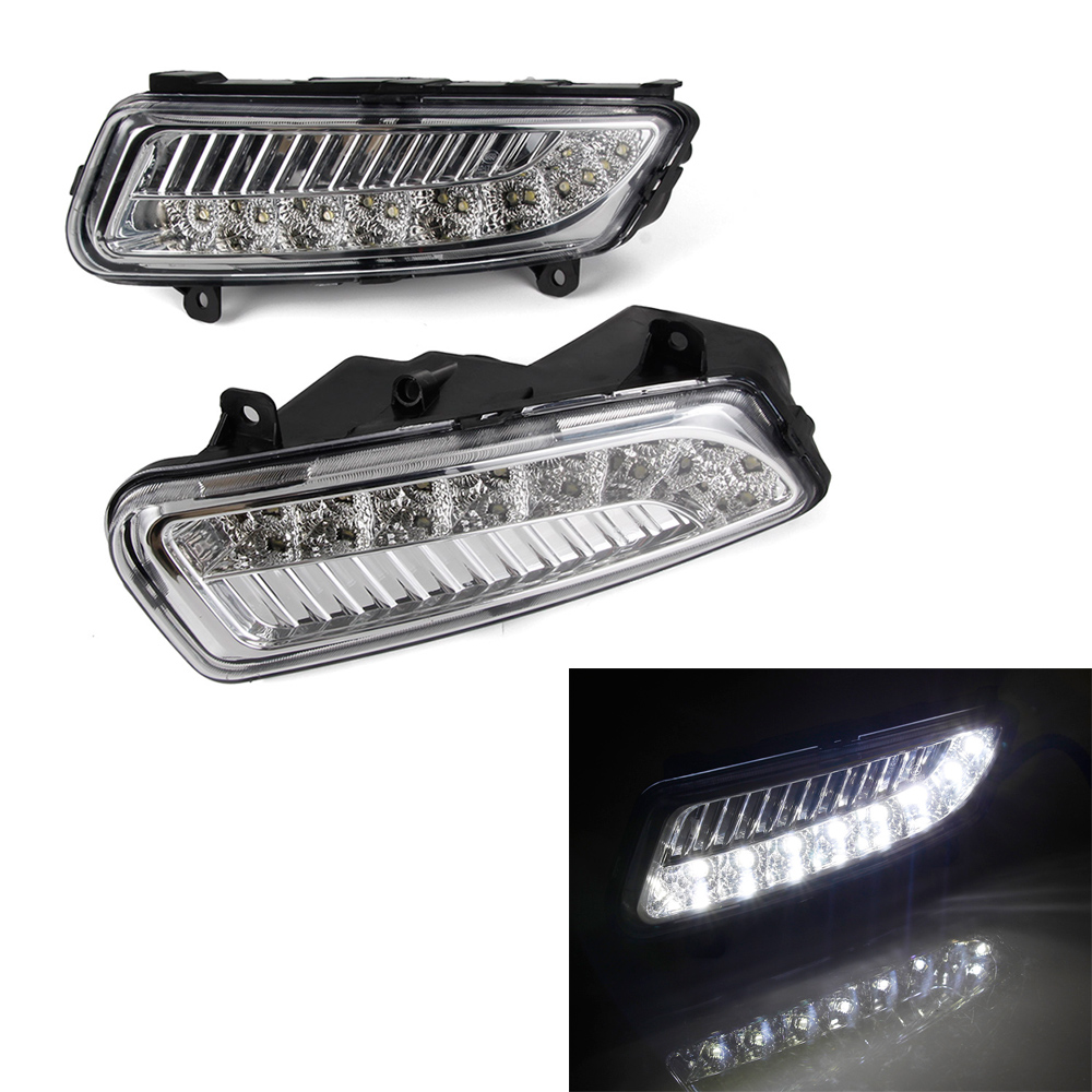 Car LED DRL Daytime Running Light Driving Lamp 2pcs/set For Volkswagen Polo 2011-2013 White hot sale abs chromed front behind fog lamp cover 2pcs set car accessories for volkswagen vw tiguan 2010 2011 2012 2013