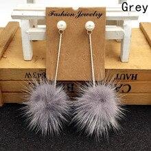 New Jewelry Wholesale Fashion Mink hair  Earrings For Women Marten Mink Earring Hair Ball Top Earring With Pearl