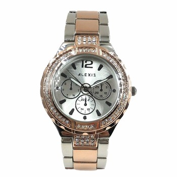 Alexis Ladies Analog Quartz Round Watch Japan PC21J Movement Rose Gold with Shiny Metal Band Silver Dial Water Resistant