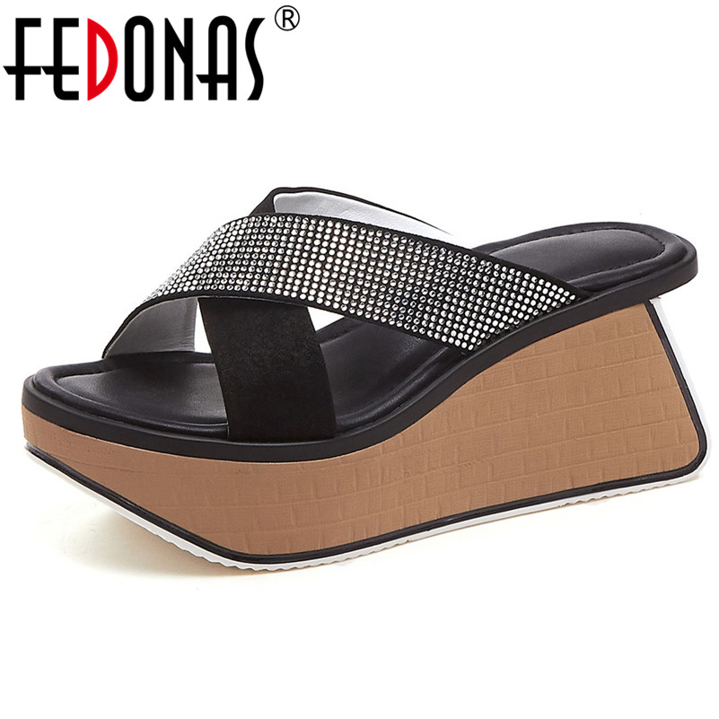 FEDONAS Classic Rome Round Toe Platforms Women Sandals Crystal Decoration Kid Suede Women Wedges Summer Party Casual Shoes WomanFEDONAS Classic Rome Round Toe Platforms Women Sandals Crystal Decoration Kid Suede Women Wedges Summer Party Casual Shoes Woman
