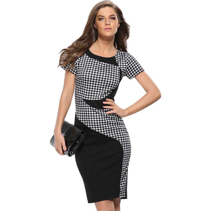 Robes femmes 2019 grille couture Slim noir et blanc AliExpress nouveau Slim Stretch paquet robe de hanche Vestidos HJY702