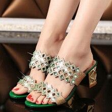NEWORANGE 2017 Shiny Rhinestone Women Sandals Cut Out Slides Casual Slippers Thick Heel Women Shoes Big Sizes 35-41 WSS754