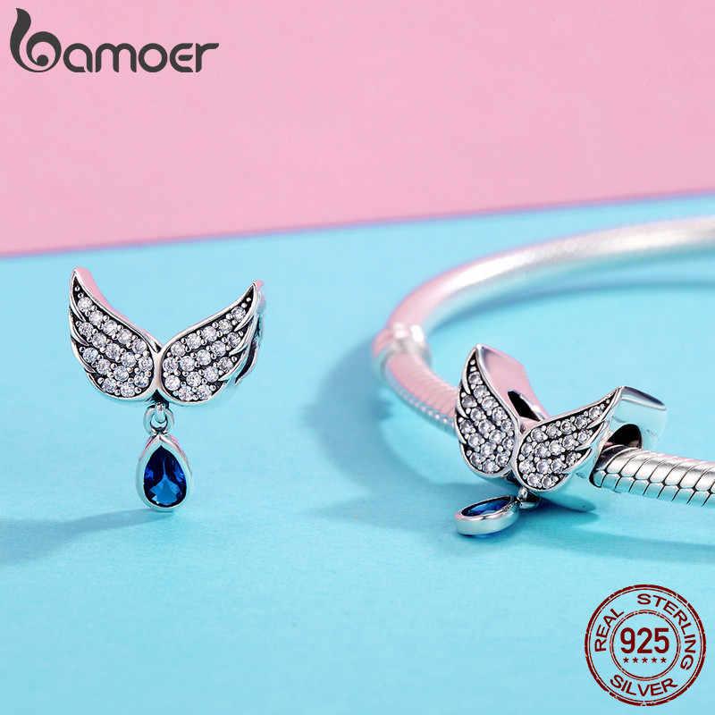 BAMOER gorąca sprzedaż autentyczne 925 Sterling Silver Angel Wings wisiorek z piórkiem Charm fit kobiety bransoletka amp naszyjnik biżuteria SCC481