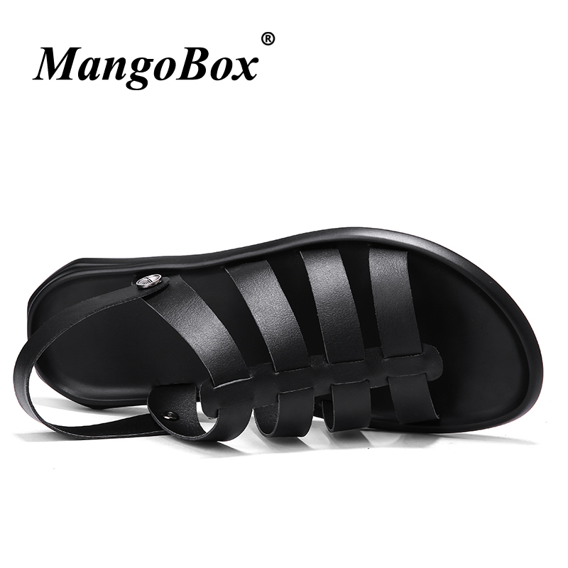 Summer Shoes for Male Black White Flat Sandals for Men Breathable Mens Shoes 2018 Casual Rubber Bottom Slip-on Outdoor Sandals