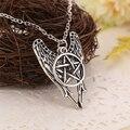 Colar pentagrama Pentagrama Supernatural Castiel anjo asas do vintage antigo pingente de prata jóias para homens e mulheres por atacado