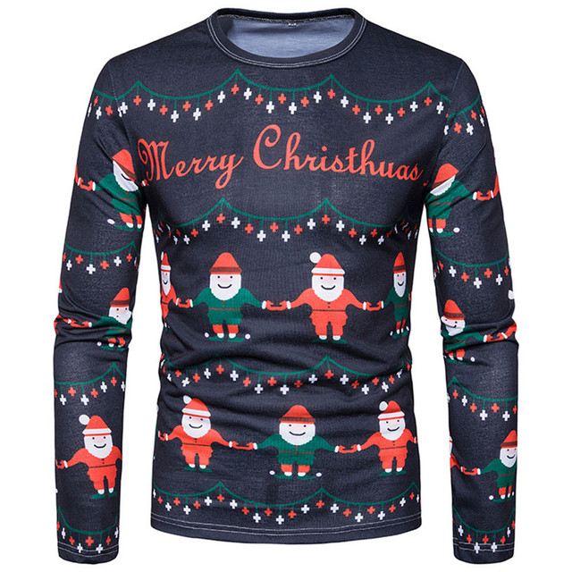 abdc1e3d052 Blouse Men Winter Xmas Christmas PrintingTop Men s Long-sleeved T-shirt  Blouse Blousa Round