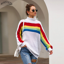 RONNYKISE Multicolor Strip Stitching Knitted Turtleneck Sweaters Women Fashion Long Sleeve Autumn Winter Warm Pullovers