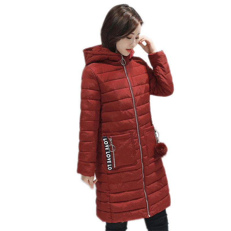 Winter Women Outerwear 2018 New Medium Long Thick Large Size Female Cotton Jacket Slim Wild Simple Hooded Warm Lady   Parkas   Cw540