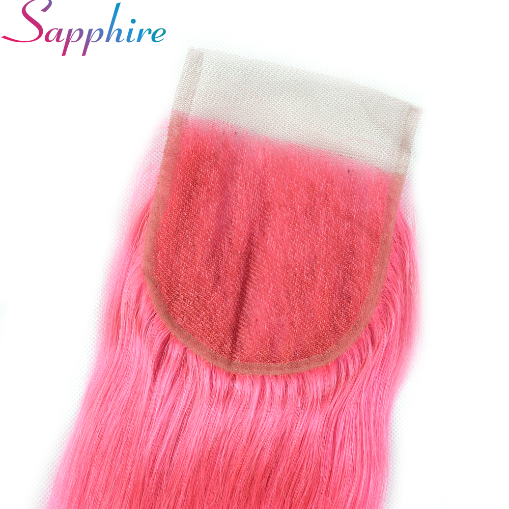 Sapphire Hair Pink Straight Lace Closure Brazilian Human Hair Pink 4x4 Closures  Remy Hair Free Pact Closure Free Shipping
