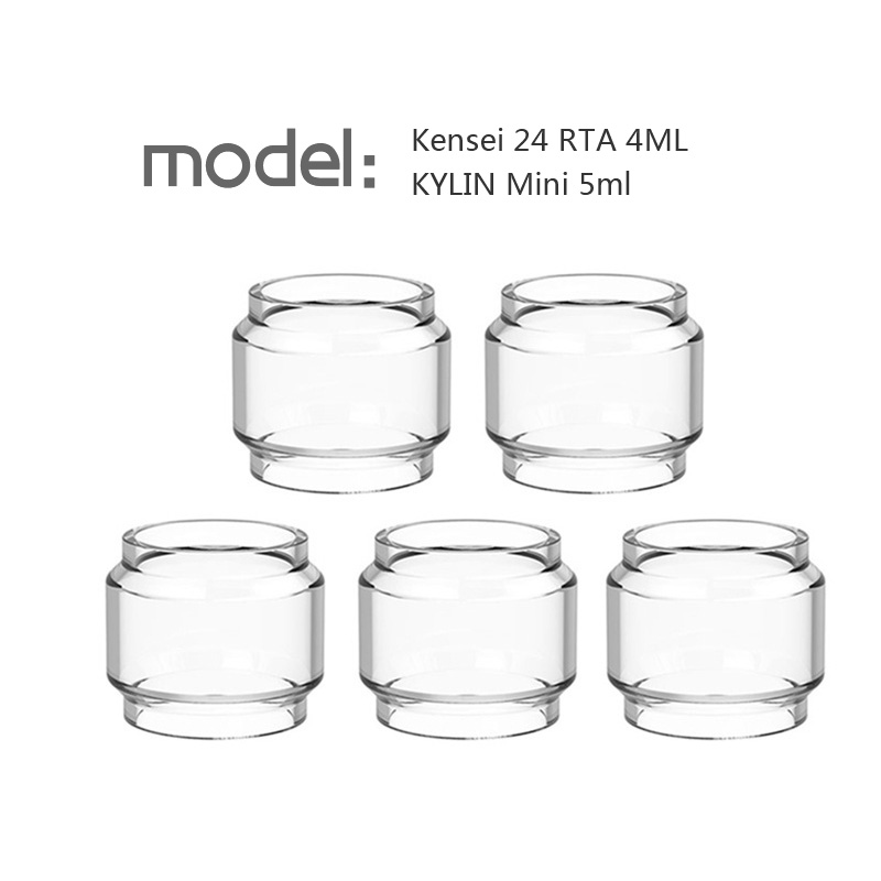 5pcs YUHETEC Replacement Fat Glass Tank For Kensei 24 RTA 4ML/KYLIN Mini 5ml Bubble Glass Fatboy Tube