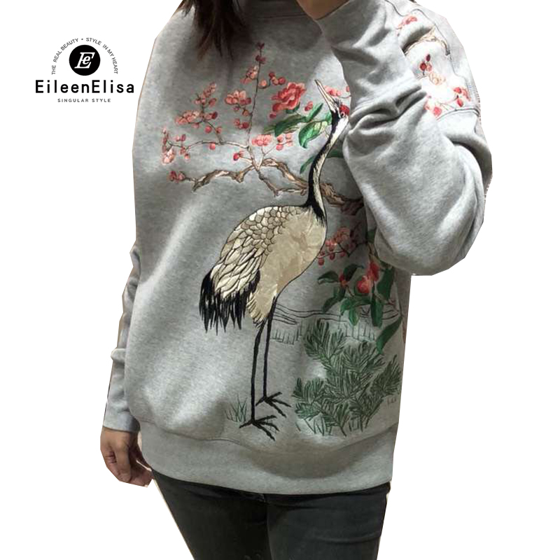Gray Hoodies Sweatshirts Round neck Women Clothing Feminina Loose Embroidery Pullover