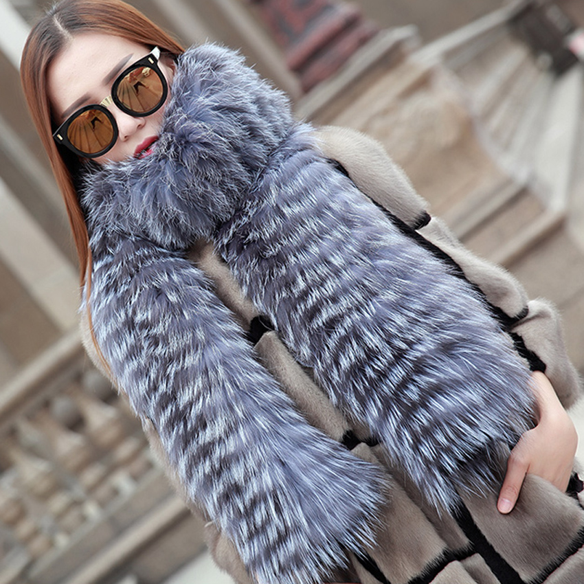 [YCFUR] Fashion Women   Scarves     Wraps   Winter Trendy Strips Silver Fox Fur   Scarf   Female Wide   Scarves   Shawls Ladies