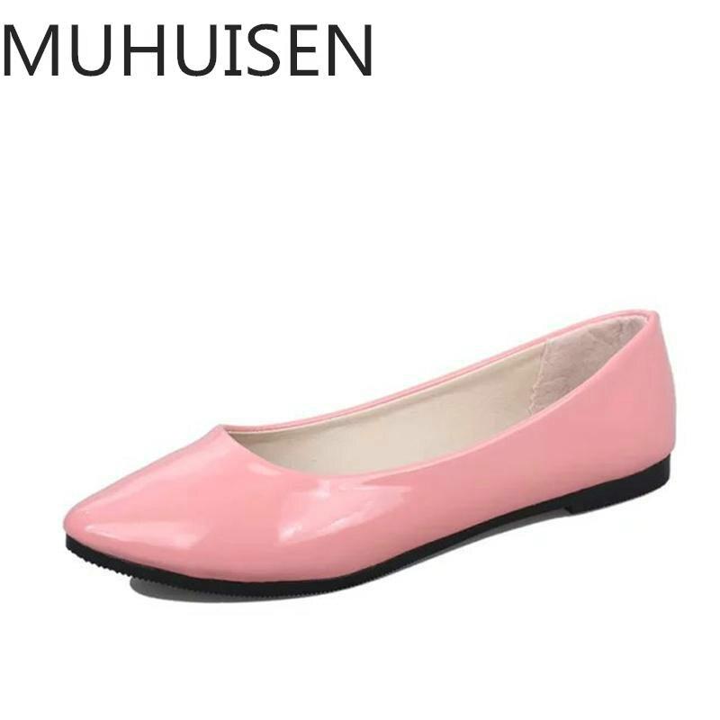 2018 Pu Lackleder Schuhe Frau Einzelnen Schuhen Flach Runde Schlepptau Frühling Herbst Ballerinas Schuhe Vertraglich Big Größe 35-42