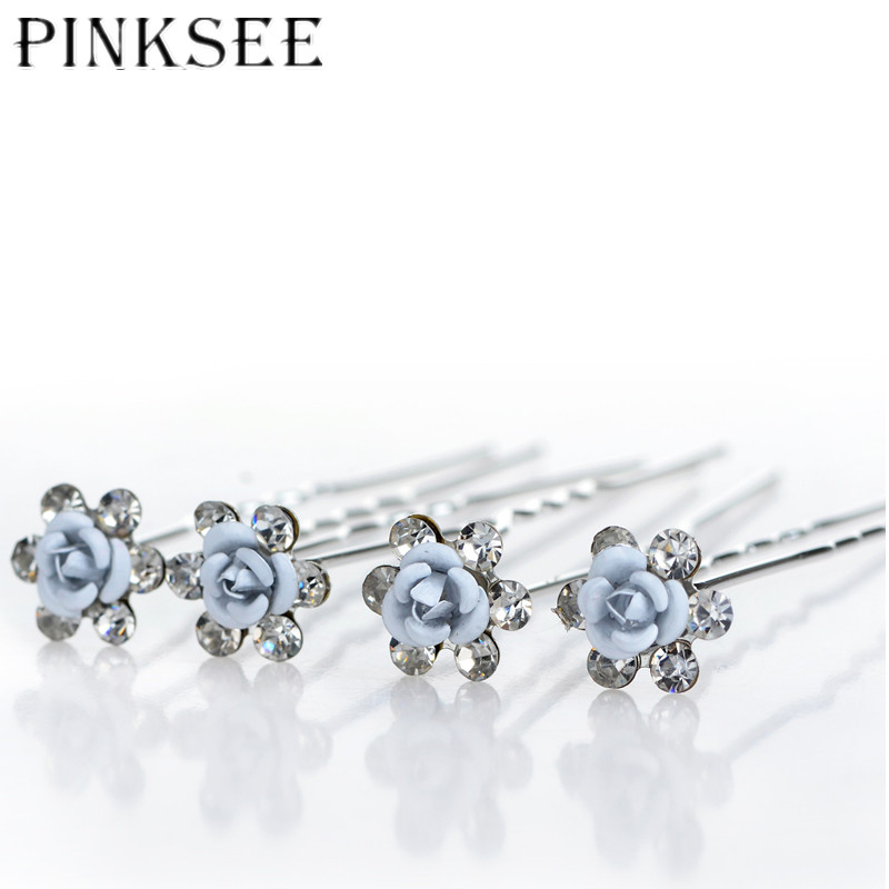 PINKSEE 20pcs lot Bridal Wedding Hair Pins Blue Flower Crystal Hair Clips  For Women Jewelry Accessories Gift -in Hair Jewelry from Jewelry    Accessories on ... c8b70375e9ae
