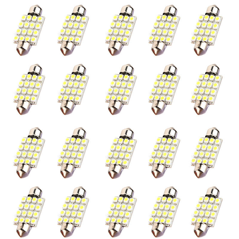 10x)  20* 39mm Dome 16 LED 3528SMD Car Festoon Interior Bulb Light Lamp 239 White 12V 1pcs 31mm 36mm 39mm 41mm white 3528 1210 car light 8smd 8 led c5w festoon dome lamp bulb dc 12v festoon dome car light bulb