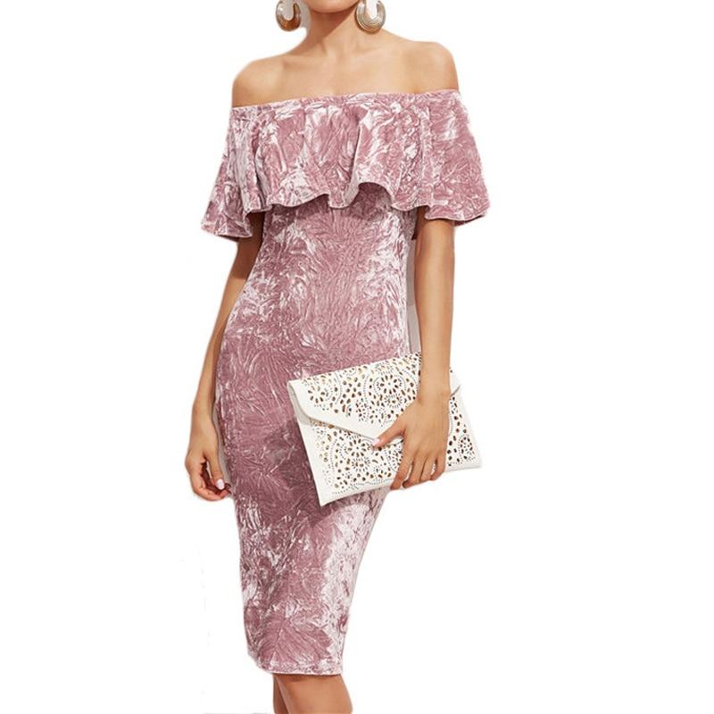 2017 Секси жени розова кадифена рокля с - Дамски дрехи