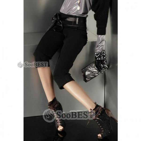 Women's Comfortable All-purpose Rhinestones Accent Middle Pants in Black
