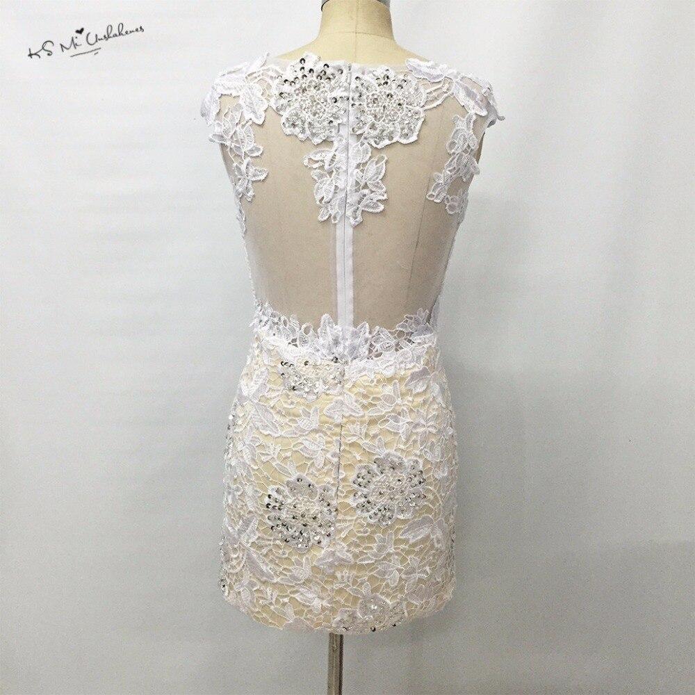 Modest Weiß Spitze Cocktailkleid Kurzes Kleid zum Party Perle mantel ...