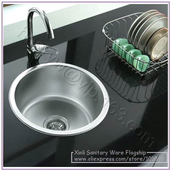 retail luxury stainless steel kitchen sink round shape single bowel free shipping l15828 - Kitchen Sink Round