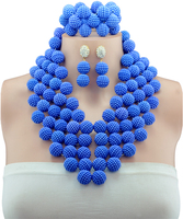 2016 Classic Nigeria Wedding african beads jewelry set Royal Blue Crystal Bridal jewelry Sets Free shipping C0964