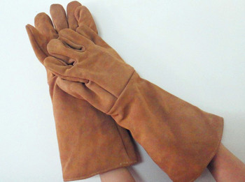 Free shipping quality cow split leather gloves high temperature insulated & stream resistant safety protecting gloves 45cm long