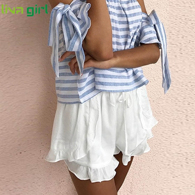 Plus Size S-XL Summer Fashion Ruffles Chiffon Shorts Women Casual Lady Female Girl High Waist Drawstring Loose Pantalon  Ma15