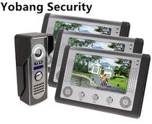 Yobang Security freeship 7″ LCD Monitor Wired Video Intercom Doorbell for home security systems support Monitoring door bell