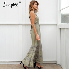 Simplee Halter hollow out long summer dress women Backless tie up bow maxi dress Elegant 2018 spring lace dress female vestidos
