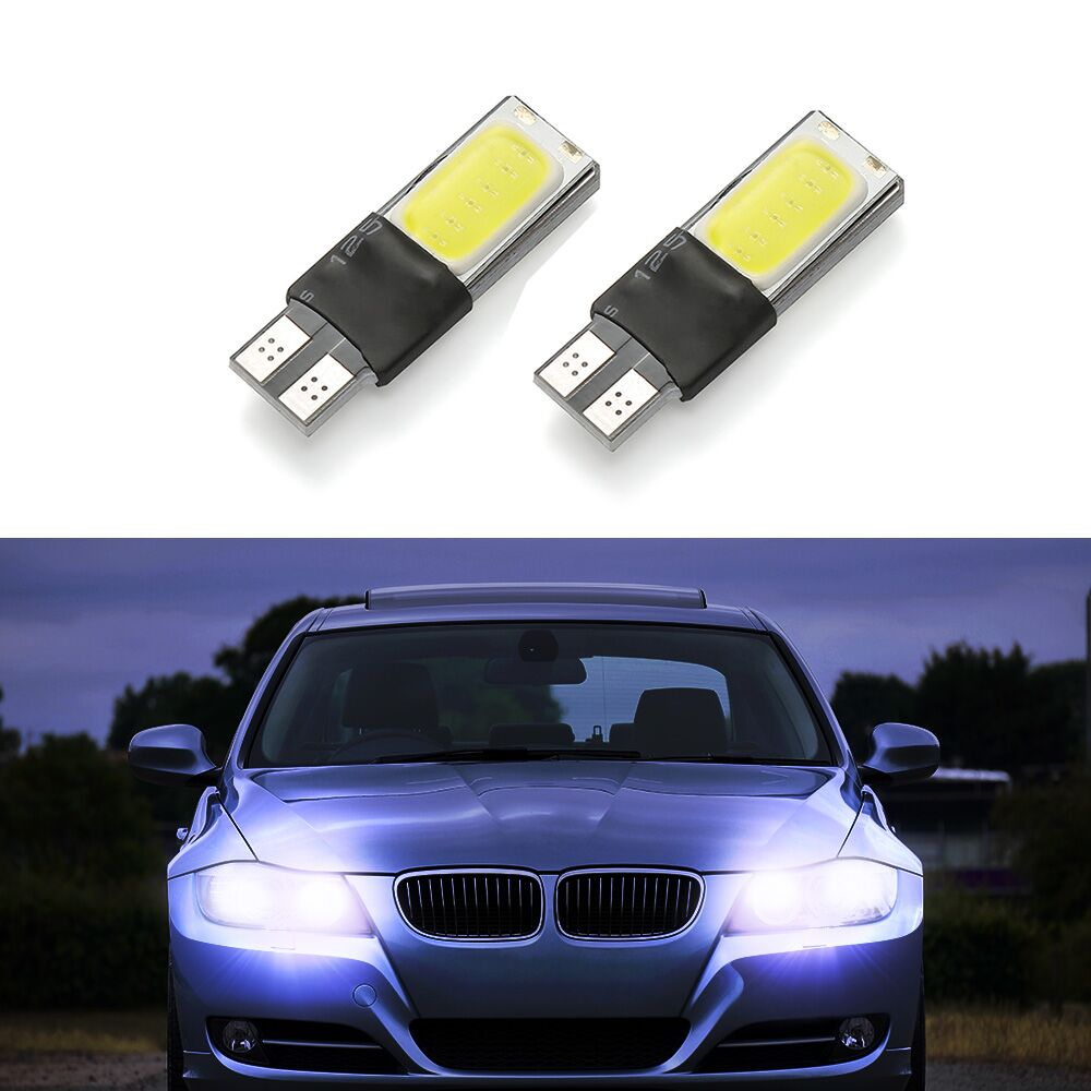 1pcs T10 LED 194 168 W5W COB Interior Bulb Light Parking Backup Brake Lamps Canbus No Error Cars xenon Auto Led w5w t10 led 2 x t10 led canbus w5w 194 interior xenon white led canbus no obc error t10 10smd 5630 5730 with lens projector aluminum