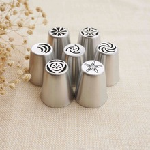 7PCS Russian Cake Piping Nozzles Tulip Icing Tip Nozzle Pastry Decorating Tips Cupcake Decorator Rose Stainless Steel