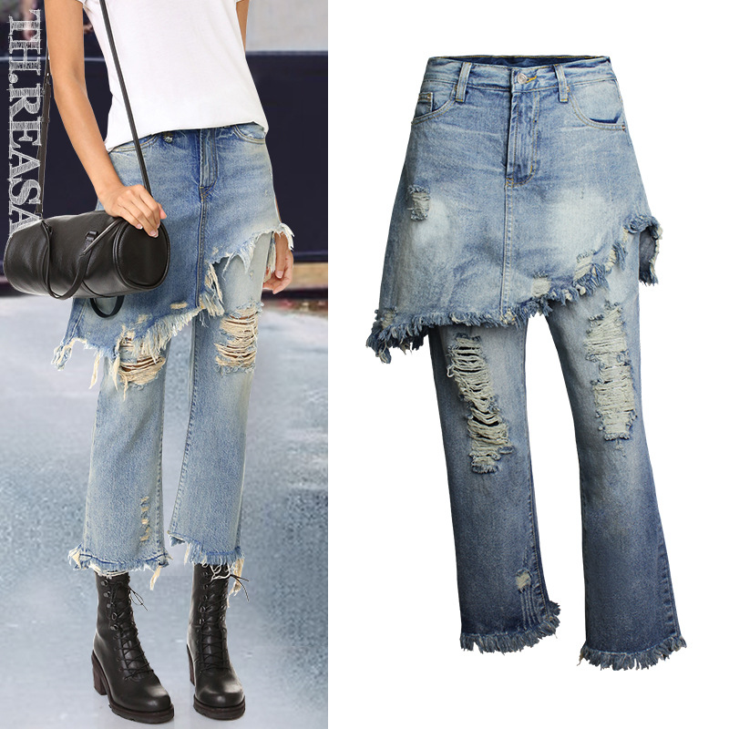 Olrain 2017 Summer Women Vintage Hole Tassel Casual Jeans Fashion Blue Ripped Washed High Waist Loose Ankle-length Denim Pants