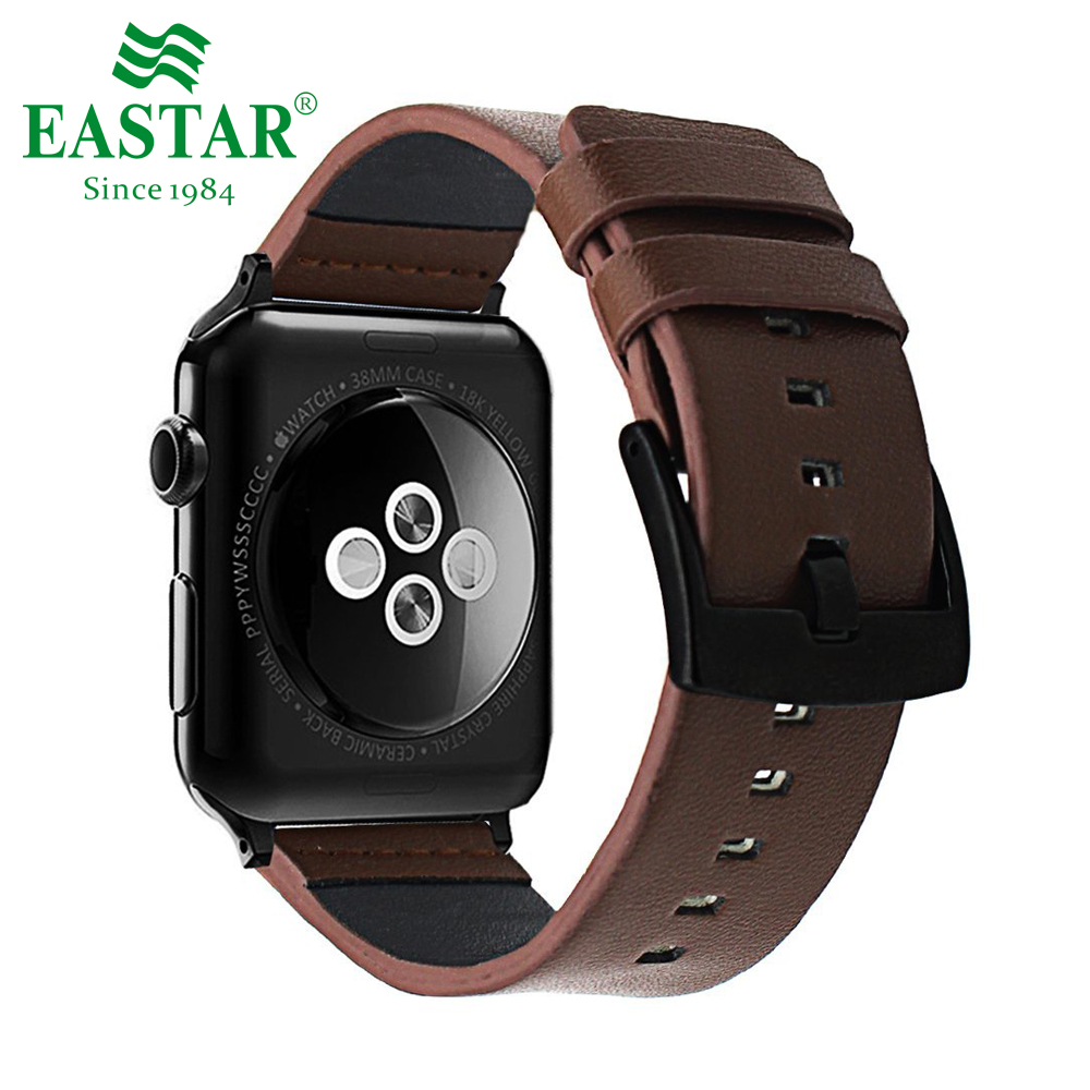 Eastar Black Genuine Leather Bracelet For Apple Watch 5 Band 42mm 38mm IWatch Watch Accessories For Apple Watch Strap Watchband