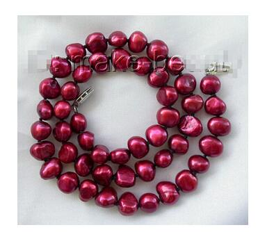 Genuine Natural 8mm baroque wine red freshwater cultured pearl necklace 18inch Beads Jewelry silver plating Exquisite