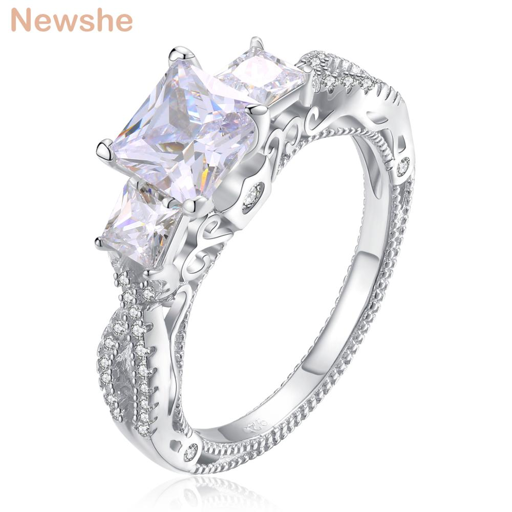 Newshe 1.8 Carats Princess Cut AAA CZ Genuine 925 Sterling Silver Wedding Engagement Ring Stunning Jewelry For Women JR4938