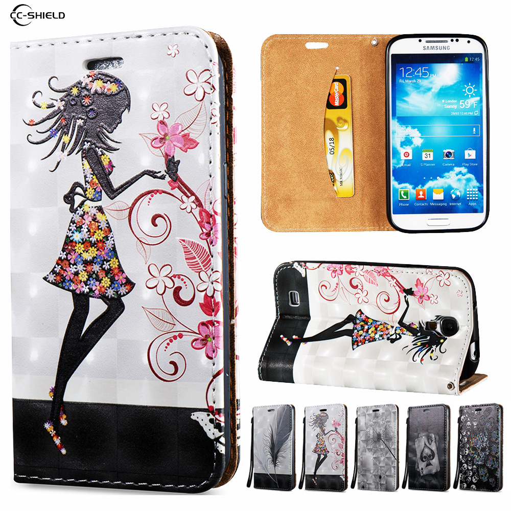3D Flip Case for Samsung Galaxy S4 S 4 GalaxyS4 I9500 GT-I9500 GT-I9505 GT-I9515 Wallet Leather Case Stand Card Hold Phone Cover