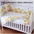Promotion! 6PCS 100% cotton baby bedding set curtain crib bumper baby bed bumper (4bumper+sheet+pillow cover)