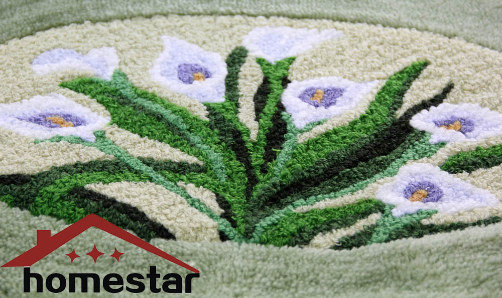 Ricamato di fiori mat rotondo ovale tappetino da bagno tappeto