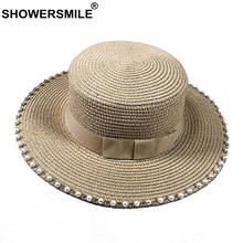 SHOWERSMILE Summer Sun Hat Women Paper Straw Hat Female Beige French Pearl Beading Travel Flat Top Elegant Ladies Sunshade Hat