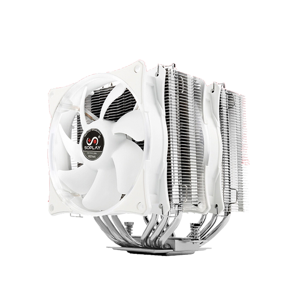 SOPLAY V587 Radiator Two tower 6 Copper Pipe AMD Intel Cooler Computer CPU Cooler Fan Support