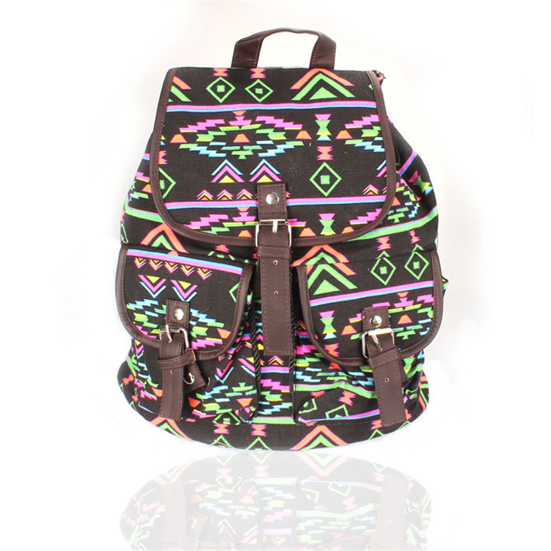 1fb508da058 2017 Simple Fashion Vintage Floral Ladies Canvas Leisure School Bag  Backpack for teenage girls mochila feminina Dropshipping