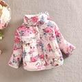 Princesa quente Da Menina Floral Grosso Outerwear Jaqueta de Manga Longa Casaco de Algodão