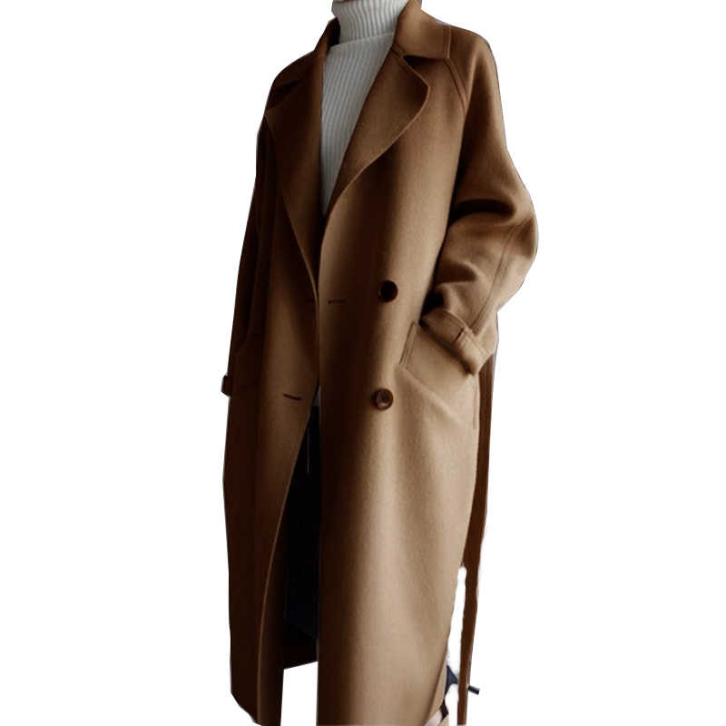 Womens Lapel Cashmere Wool Blend Belt Trench Coat Outwear Oversize Jacket Parka