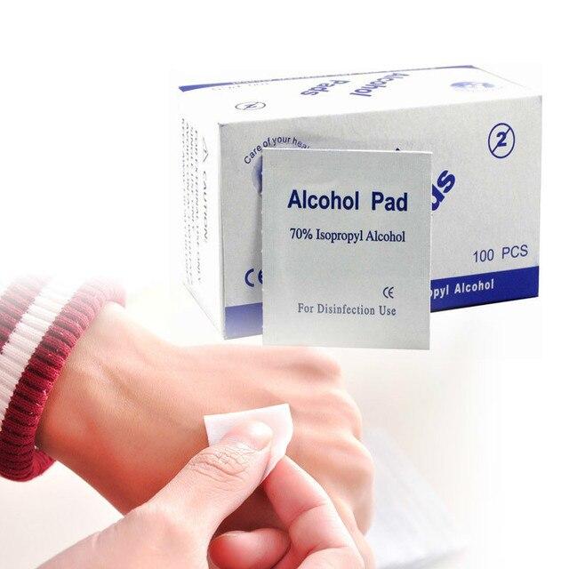 100 unids/caja de esterilización de Alcohol isopropílico médico torundas de algodón con Alcohol de toallitas húmedas tejido antiséptico de limpieza de primeros auxilios