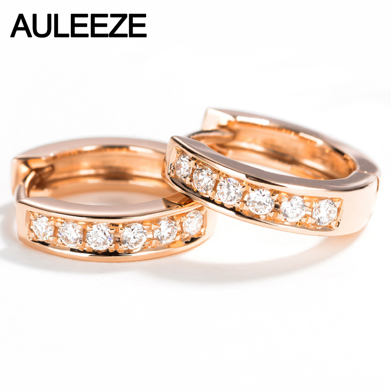 AULEEZE Genuine Natural Real Diamond G/SI Wedding Earrings Classic 18K Solid Rose Gold Hoop Earrings For Women Fine JewelryAULEEZE Genuine Natural Real Diamond G/SI Wedding Earrings Classic 18K Solid Rose Gold Hoop Earrings For Women Fine Jewelry