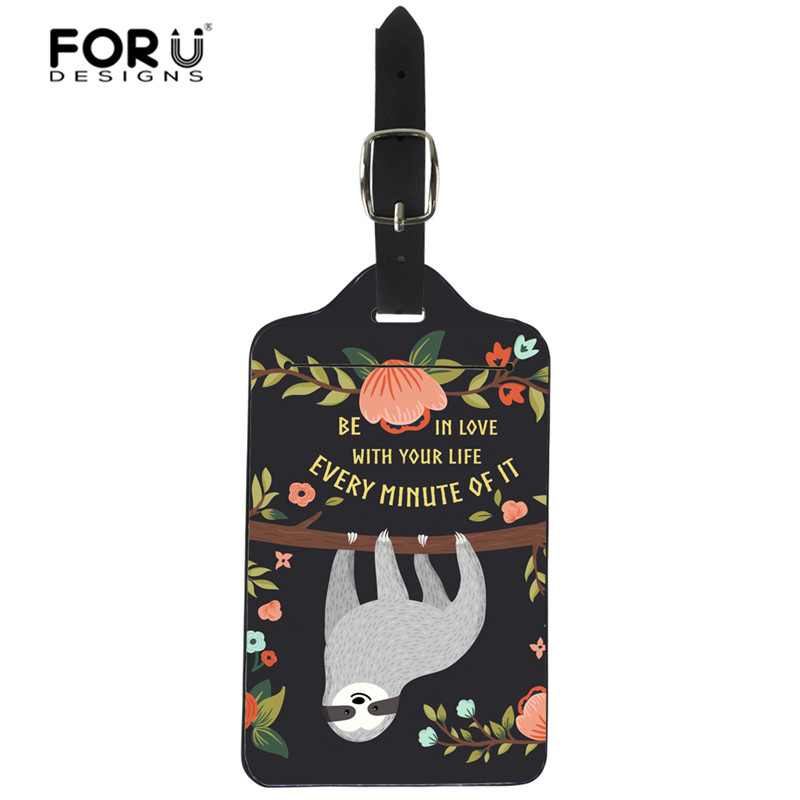 FORUDESIGNS Sloth Print Luggage Tags Soft Plastic PU Identifier Baggage Bag Tag Travel Accessories Suitcase Name Address Label