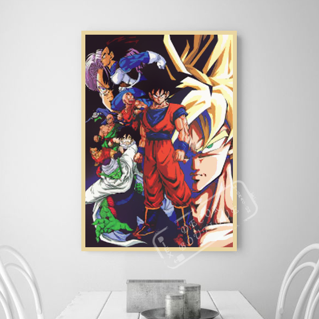 A Large Dragon Ball Z Ww2 Vintage Classic Retro Canvas Painting Frame Poster Wall Home Posters