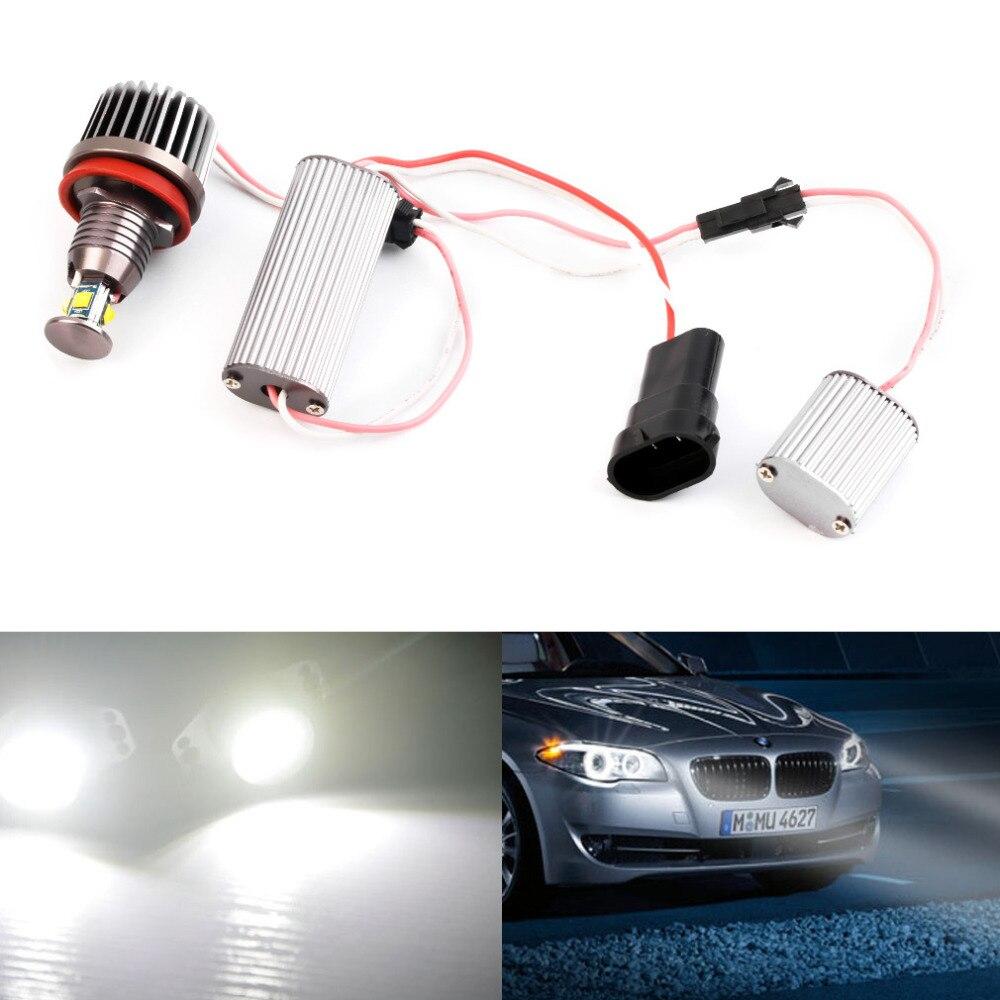 2Pcs 40W H8 LED HID Headlight 6000k Angel Eyes For BMW E60 E61 E63 E64 E70 X5 E71 E82 E87 E89 E90 E91 E92 2pcs led license plate light 12v white 6000k for bmw e39 m5 e82 e88 e39 e60 m5 e61 e90 e91 e93 x5 e70 e71 e72 x6