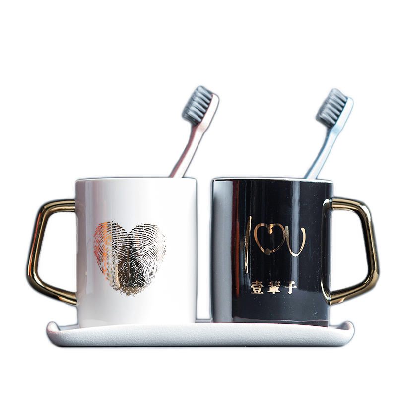 Bathroom Tumblers Toothbrush Cup Wash Tooth Mug High Quality Luxury Printing Ceramic Material Wash Cup 12